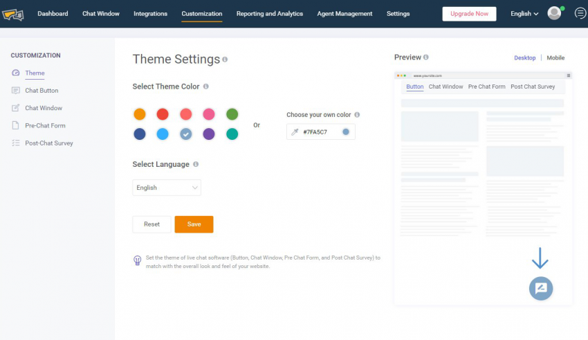 setting of live chat software