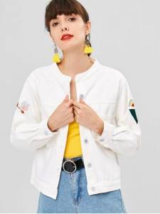 Button Up Embroidered Patched Denim Jacket