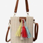 Tassels decoration bucket shaped straw casual tote bag