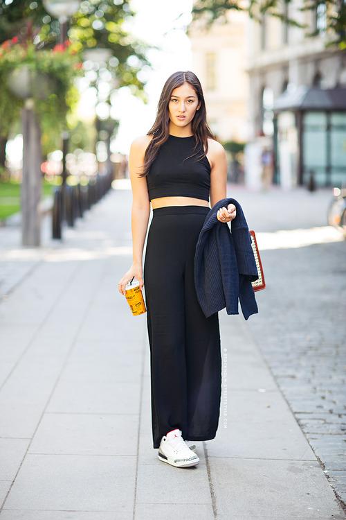 Black crop top and black maxi skirt