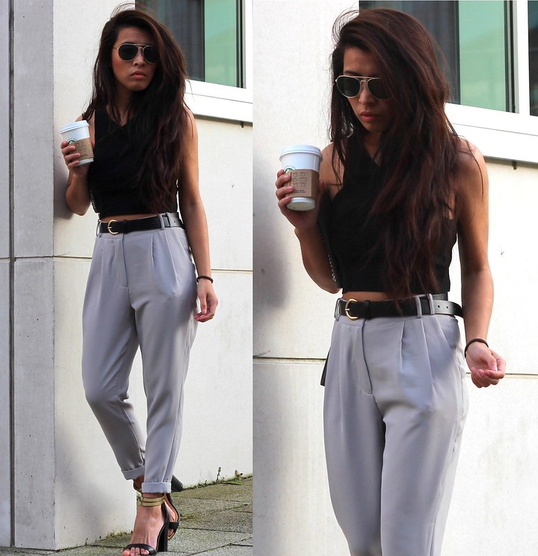 Black crop top and high waist trousers