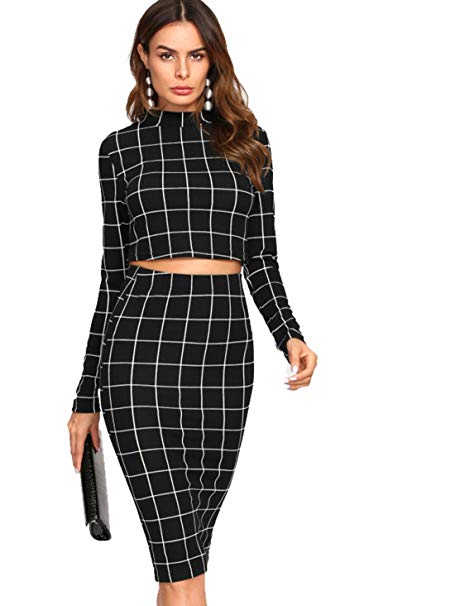 Black long sleeved crop top and midi skirt