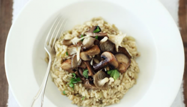 Appetizing Risotto Recipe With Baked Mushrooms Twist